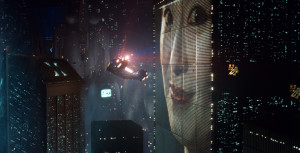 Still from Blade Runner's 'exterior' sequences, created by installing CRT screens into the scaled-down model buildings used to create the landscape.