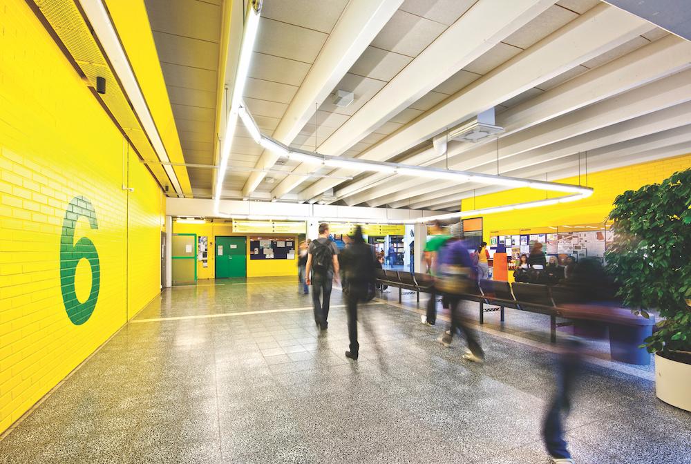 Indoor view of a University corridor.