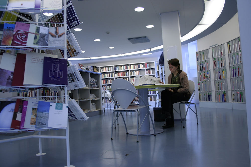 Reading table in one of the University's libraries.